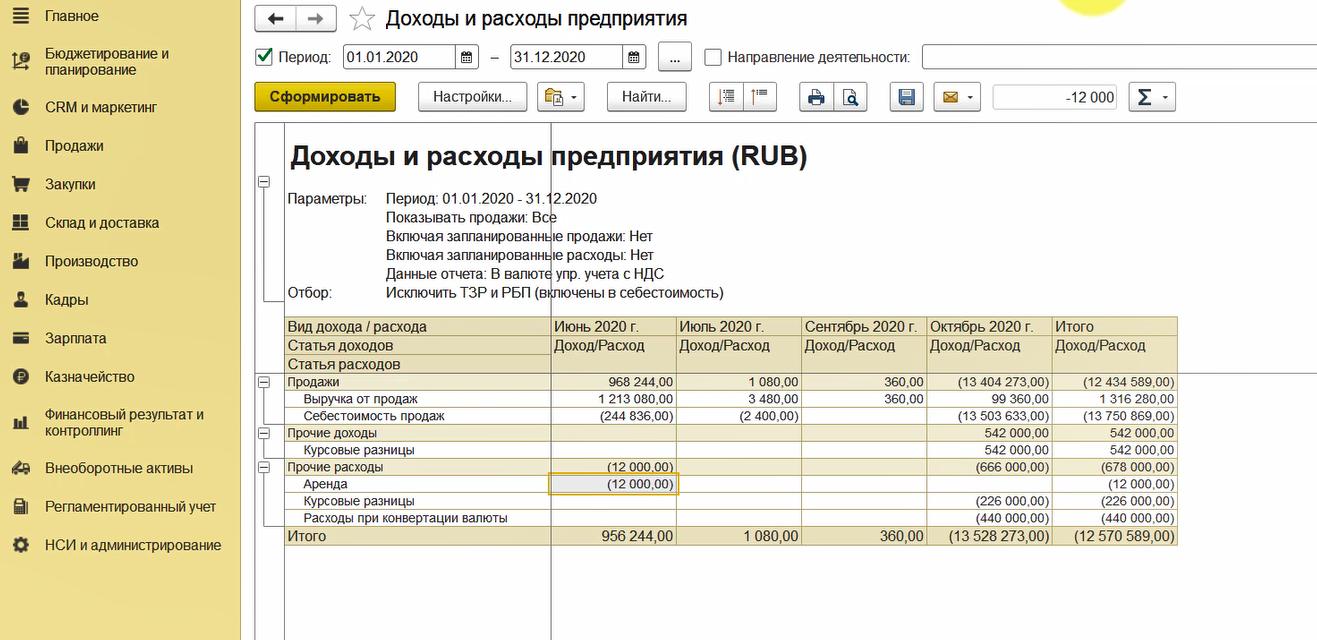 1С Комплексная автоматизация 2: отчет «Доходы и расходы по организации»