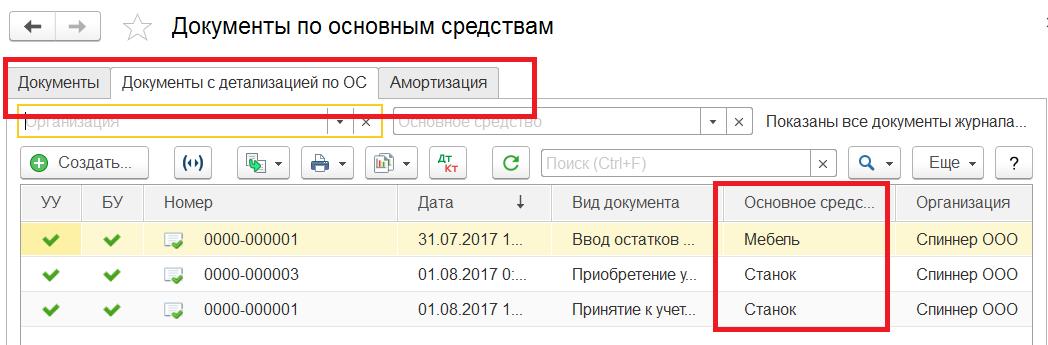 1С Комплексная автоматизация 2: документы по ОС редакция 2.4