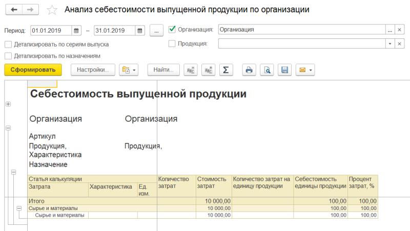 Анализ себестоимости выпущенной продукции в 1С Комплексная автоматизация 2