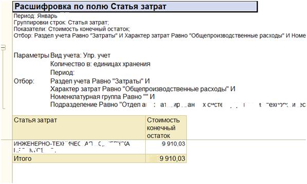 Отчет Ведомость по учету затрат в 1С УПП и Комплексная автоматизация 1.1: расшифровка по статье